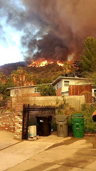 A brush fire, burning in the foothills above Glendora, is seen in this photo from ABC7 viewer Adriana Cardenas on Thursday, Jan. 16, 2014. <span class=meta>(ABC7 viewer Adriana Cardenas)</span>