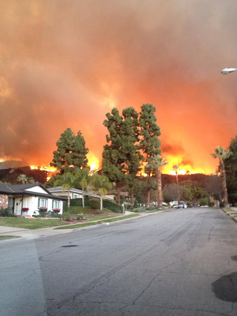 A brush fire, burning in the foothills above Glendora, is seen in this photo from ABC7 viewer Blake Gordon on Thursday, Jan. 16, 2014.