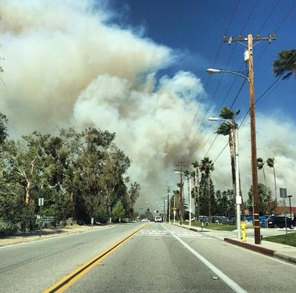 ABC7 viewer @AshleyySuzanne sent in this photo of the brush fire near Rancho Cucamonga via Twitter on Wednesday, April 30, 2014. When You Witness breaking news, or even something extraordinary, send pictures and video to video@abc7.com, or post them to the ABC7 Facebook page or to @abc7 on Twitter.  <span class=meta>(ABC7 viewer @AshleyySuzanne)</span>