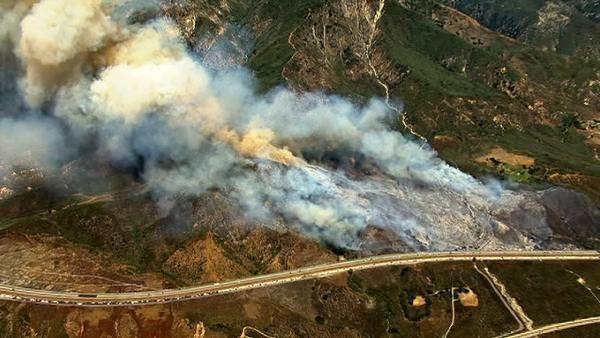 Two wildfires affected traffic near the 15 Freeway in the Cajon Pass on Monday, Aug. 22, 2011.