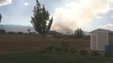 An ABC7 viewer sent in this photo of a large brush fire in Pinon Hills that consumed dozens of acres Saturday.