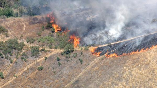 A brush fire broke out in the hills of Castaic along Interstate 5 on Friday, June 8