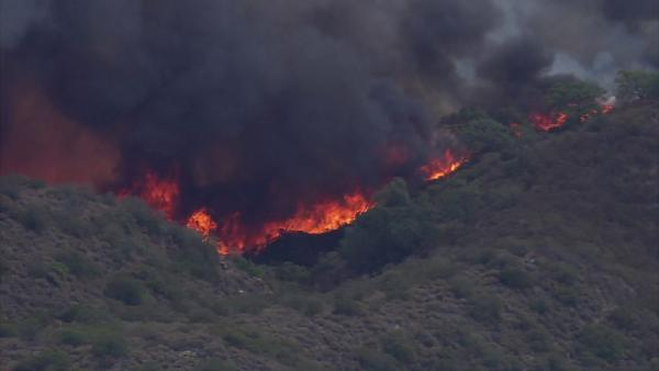 A brush fire burned in rural Murrieta on Wednesday, Aug. 1, 2012.