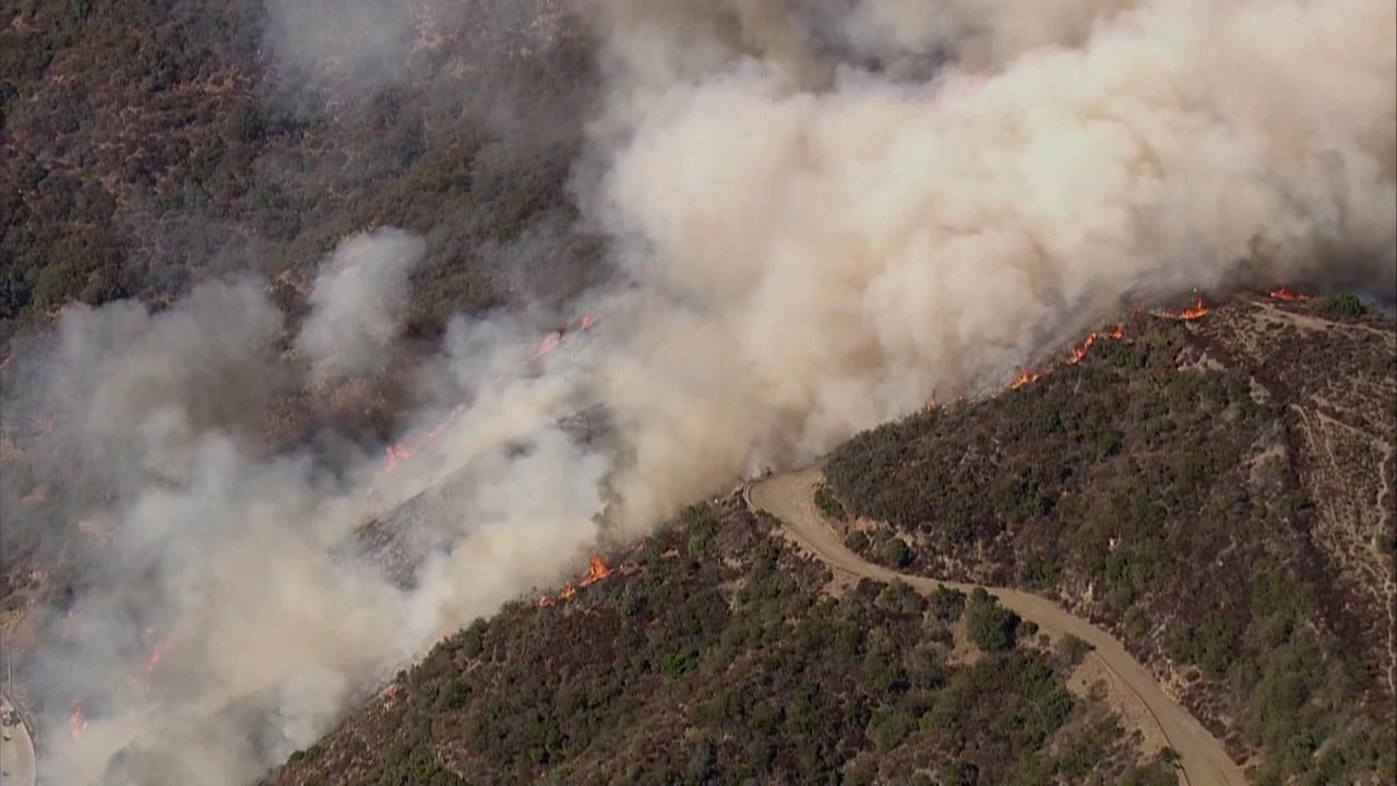 A brush fire erupted in the Sepulveda Pass near the 405 Freeway at Getty Center Drive on Friday, Sept. 14, 2012.