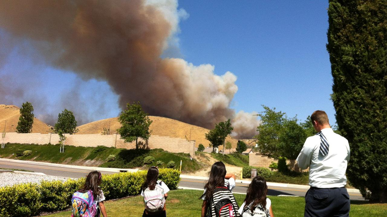 ABC7 viewer Alma Bierma took this photo of the Banning brush fire on Wednesday, May 1, 2013.