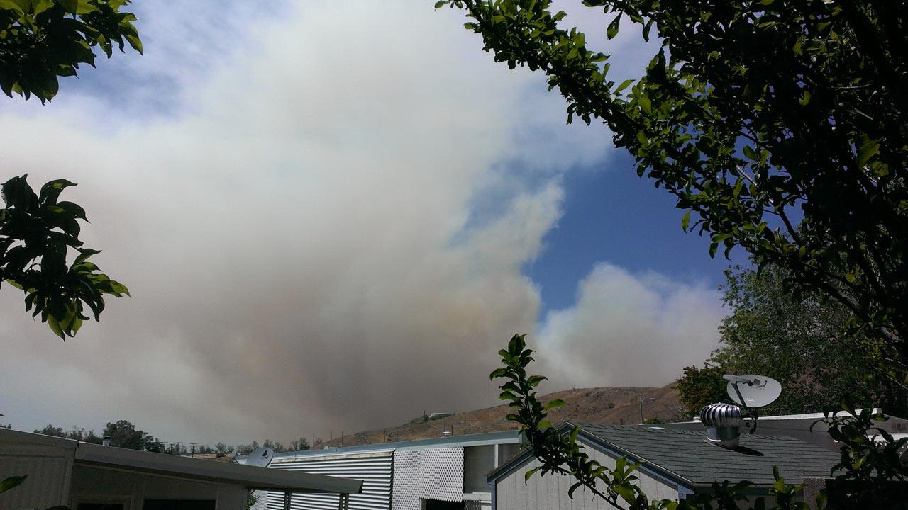 An ABC7 viewer took this photo of the Banning brush fire on Wednesday, May 1, 2013.