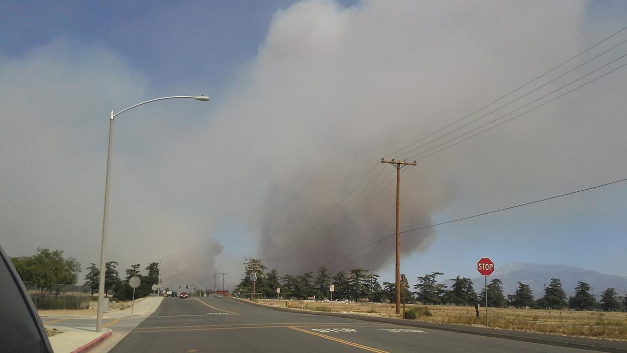 ABC7 viewer Carrie Vest took this photo of the Banning brush fire on Wednesday, May 1, 2013.