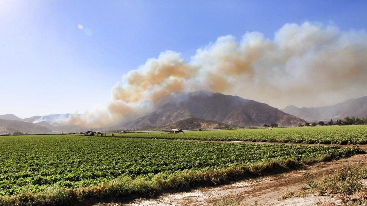 ABC7 viewer James Nagy sent in this photo of a brush fire that broke out near the 101 Freeway in Camarillo Thursday, May 2, 2013. <span class=meta>(James Nagy)</span>