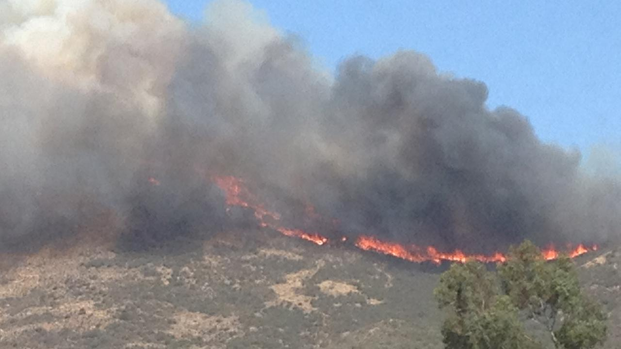 ABC7 viewer Carol Daymude sent in this photo of a brush fire that broke out near the 101 Freeway in Camarillo Thursday, May 2, 2013. <span class=meta>(Carol Daymude)</span>