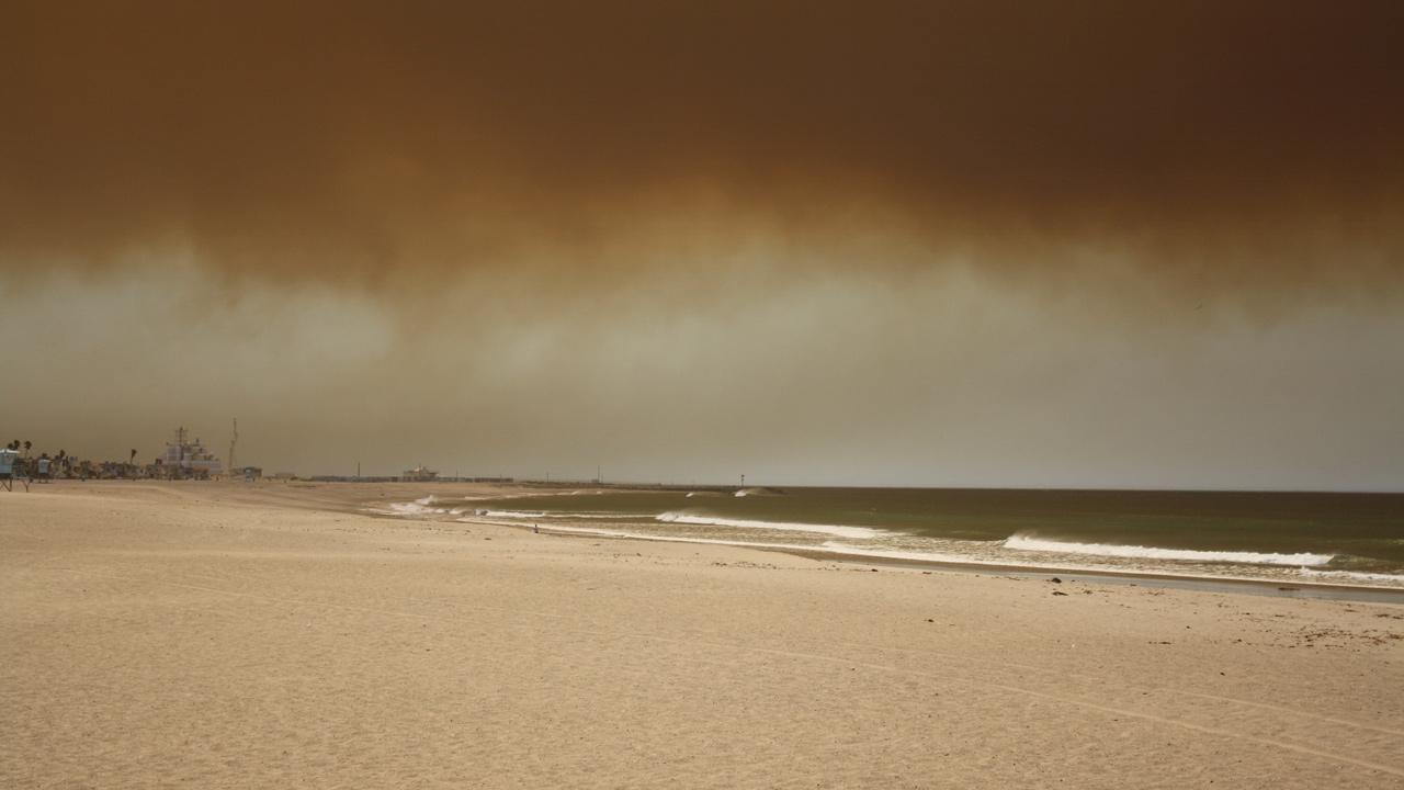 ABC7 viewer Lindsey Jensen sent in this photo from Channel Islands Beach of smoke from a fire burning in Camarillo Springs Thursday, May 2, 2013.Lindsey Jensen