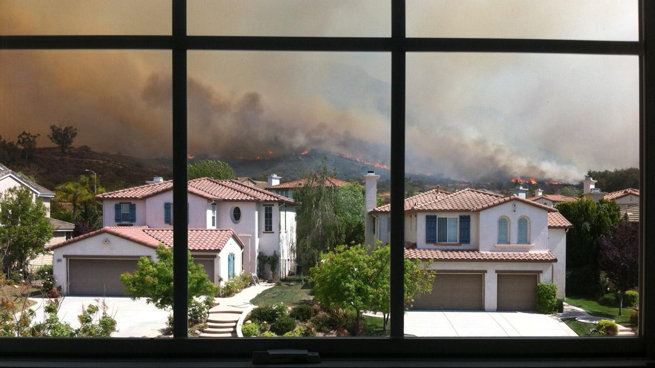 ABC7 viewer Christian Oertli sent in this photo of a wind-driven wildfire burning near Newbury Park on Thursday, May 2, 2013. <span class=meta>(Christian Oertli)</span>
