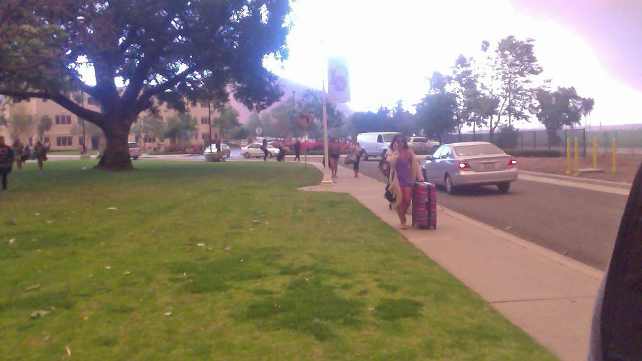 ABC7 viewer Talia Favela sent in this photo of students evacuating from California State University, Channel Islands due to a wind-driven wildfire burning in the Camarillo area on Thursday, May 2, 2013.Talia Favela