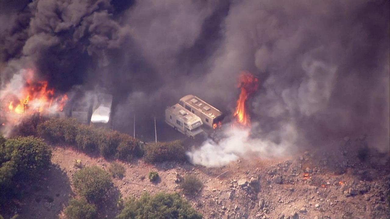 A brush fire that erupted in Camarillo Springs destroyed an RV park on Thursday, May 2, 2013.