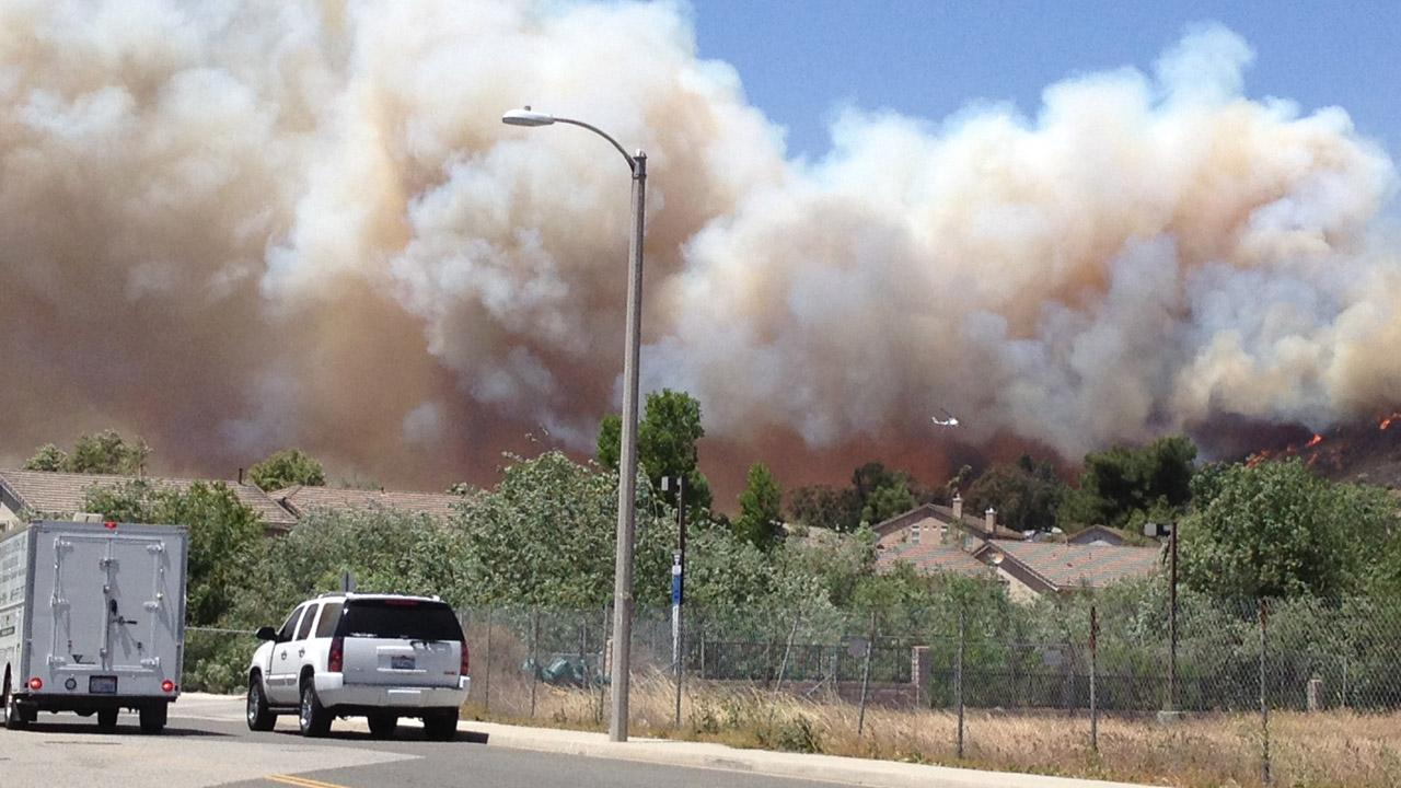 ABC7 viewer Kim Sheldon sent in this photo of a wind-driven wildfire burning near Newbury Park on Thursday, May 2, 2013. <span class=meta>(Kim Sheldon)</span>