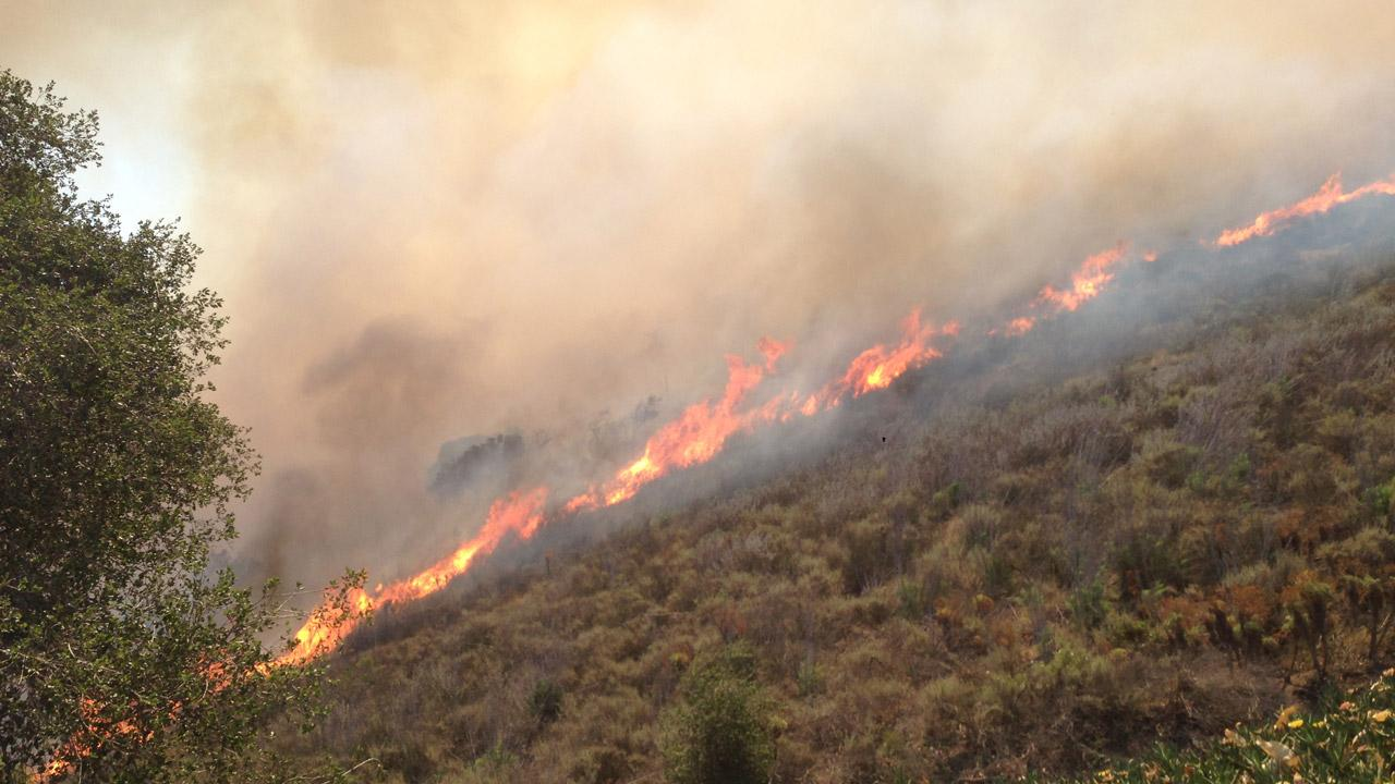 ABC7 viewer Enrique Padron sent in this photo of a wildfire burning in Camarillo on Thursday, May 2, 2013. <span class=meta>(Enrique Padron)</span>