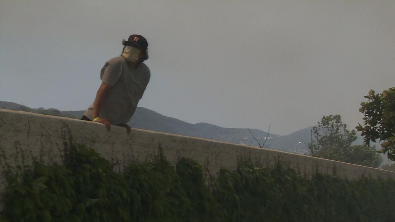 A brush fire erupted in Camarillo on Thursday, May 2, 2013. Some Camarillo residents said they were staying put to guard their homes from flames.