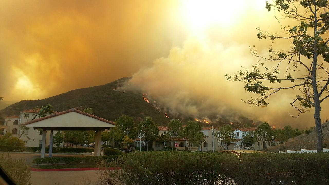 ABC7 viewer Barbara Griffin sent in this photo of a wildfire burning in Camarillo on Thursday, May 2, 2013.Barbara Griffin