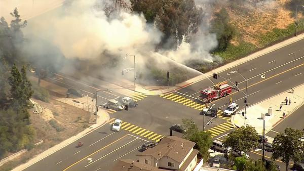 A brush fire erupted in Glendale near the 134 Freeway and Harvey Drive on Friday, May 3, 2