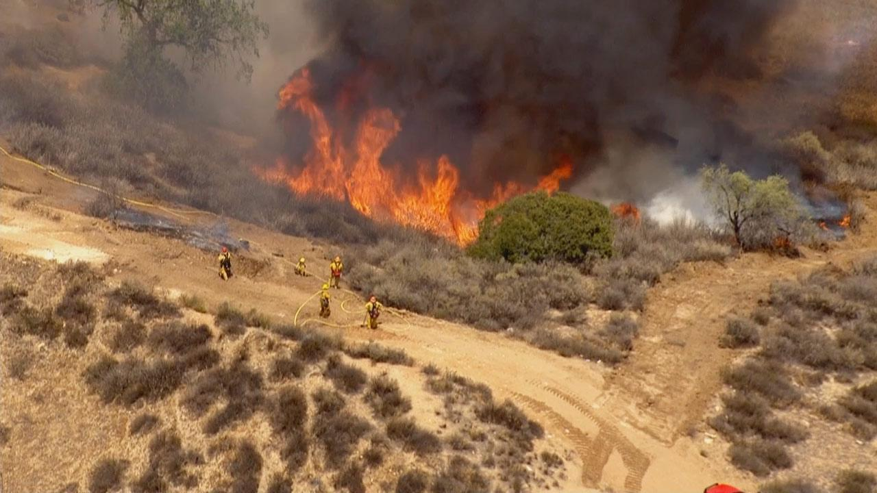 A brush fire was reported at 1:06 p.m. in the Castaic area near Live Oak and Hidden Trail.
