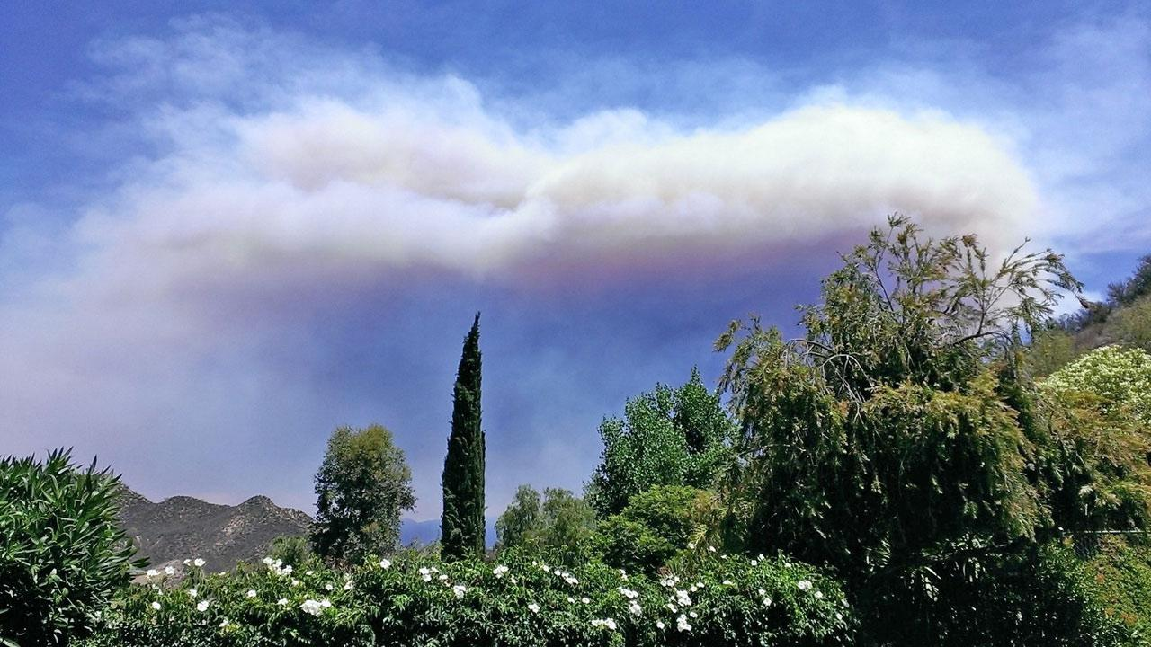 A cloud of smoke from the Powerhouse fire is seen from Castaic on Sunday, June 2, 2013.ABC7 viewer Cindy Lu M.