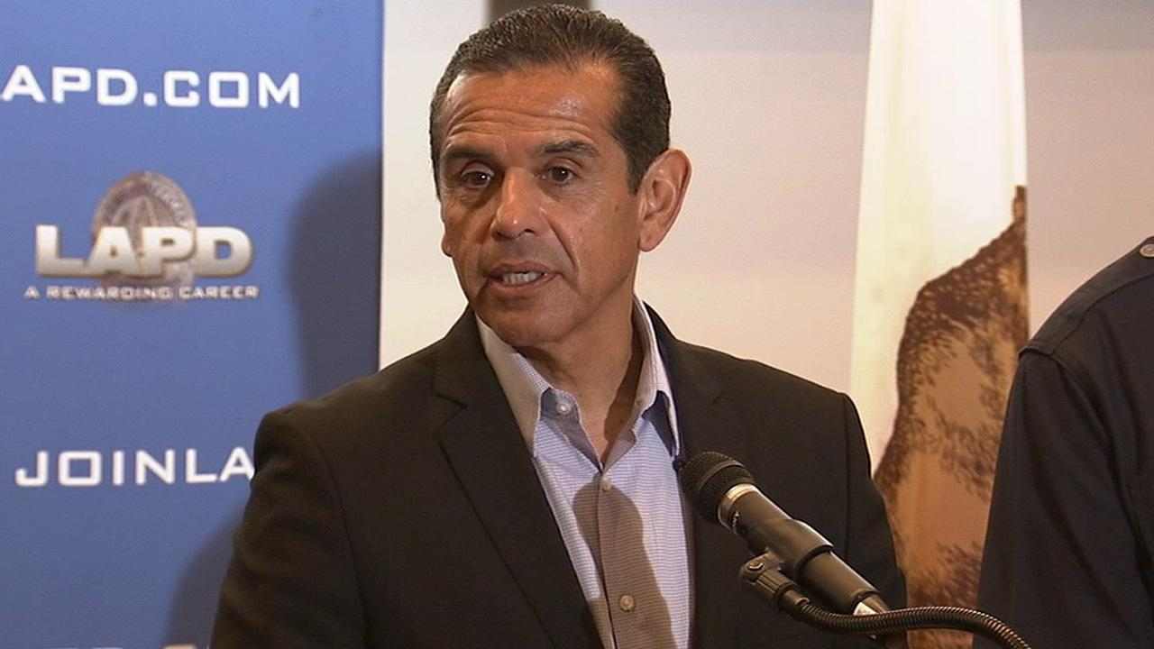 Mayor Antonio Villaraigosa held a news conference at the LAPD headquarters on Friday, June 28, 2013.