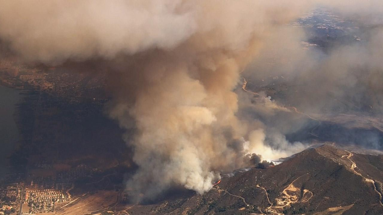 A brush fire burning in the Morrell Canyon area of Riverside County prompted evacuations Monday, Aug. 5, 2013.