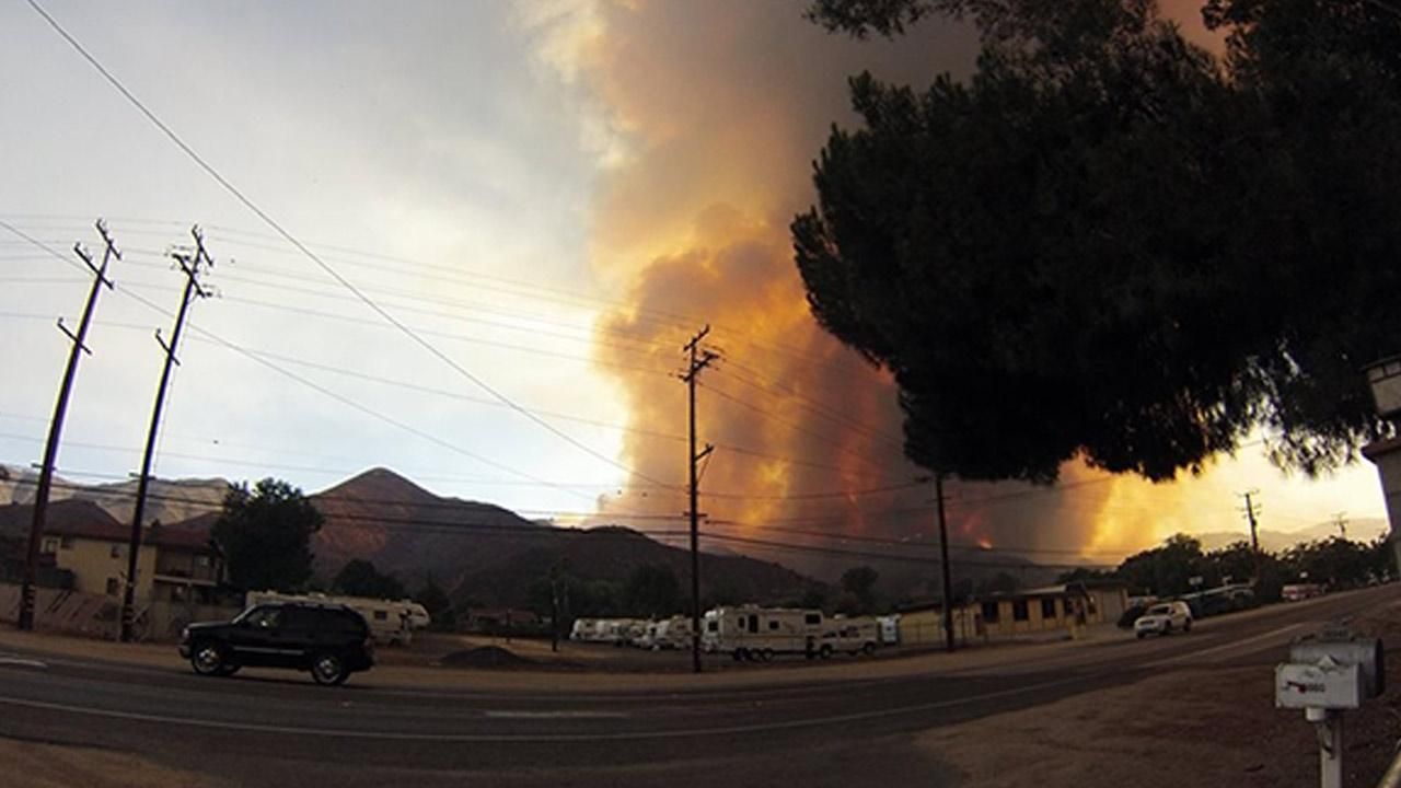 ABC7 viewer John H. Kerry posted this photo on our Facebook page of the Falls Fire in Riverside County on Monday, Aug. 5, 2013. <span class=meta>(ABC7 viewer John H. Kerry)</span>
