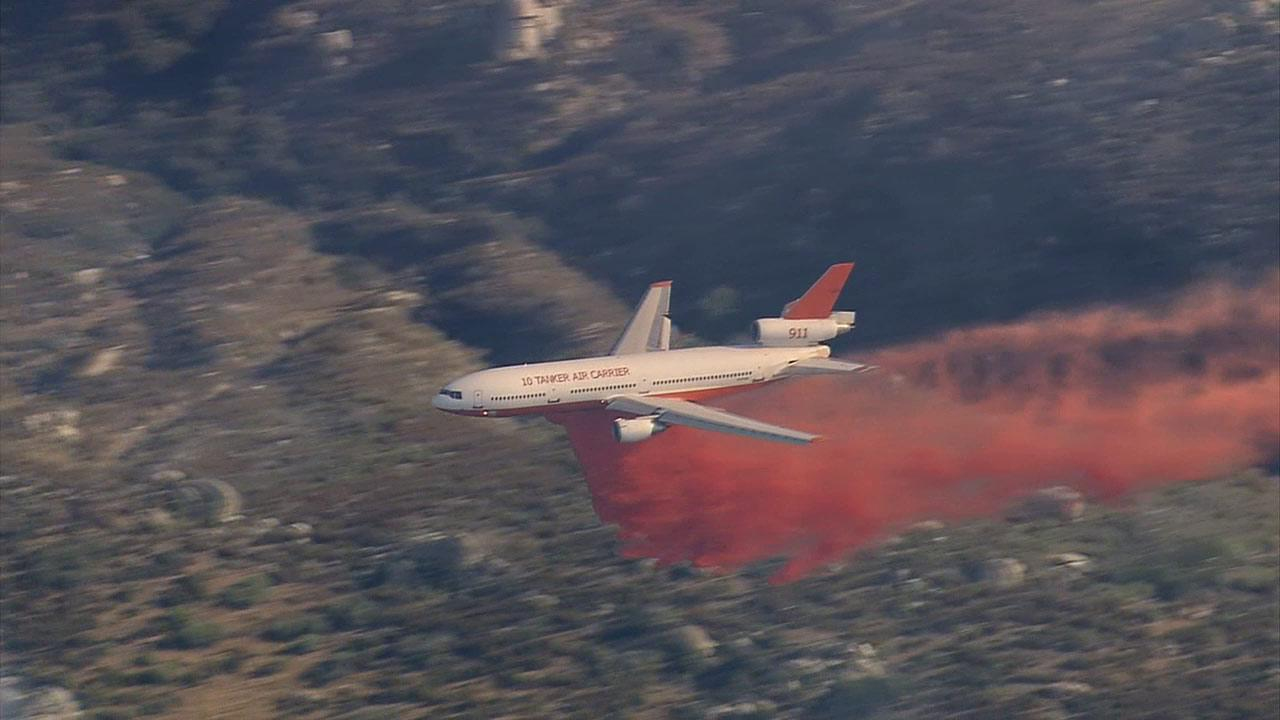 The DC-10 Air Tanker was called in to fight a wildfire south of Banning near Highway 243 on Wednesday, August 7, 2013.