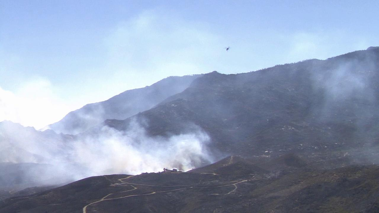 Smoke from the so-called Silver Fire is seen in Riverside County.