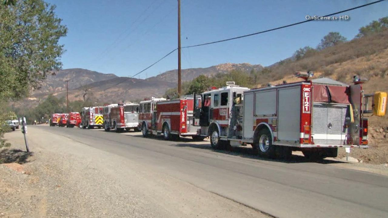 Fire engines gather near the scene of a fire near Silverado in Orange County in this October 2013 photo.