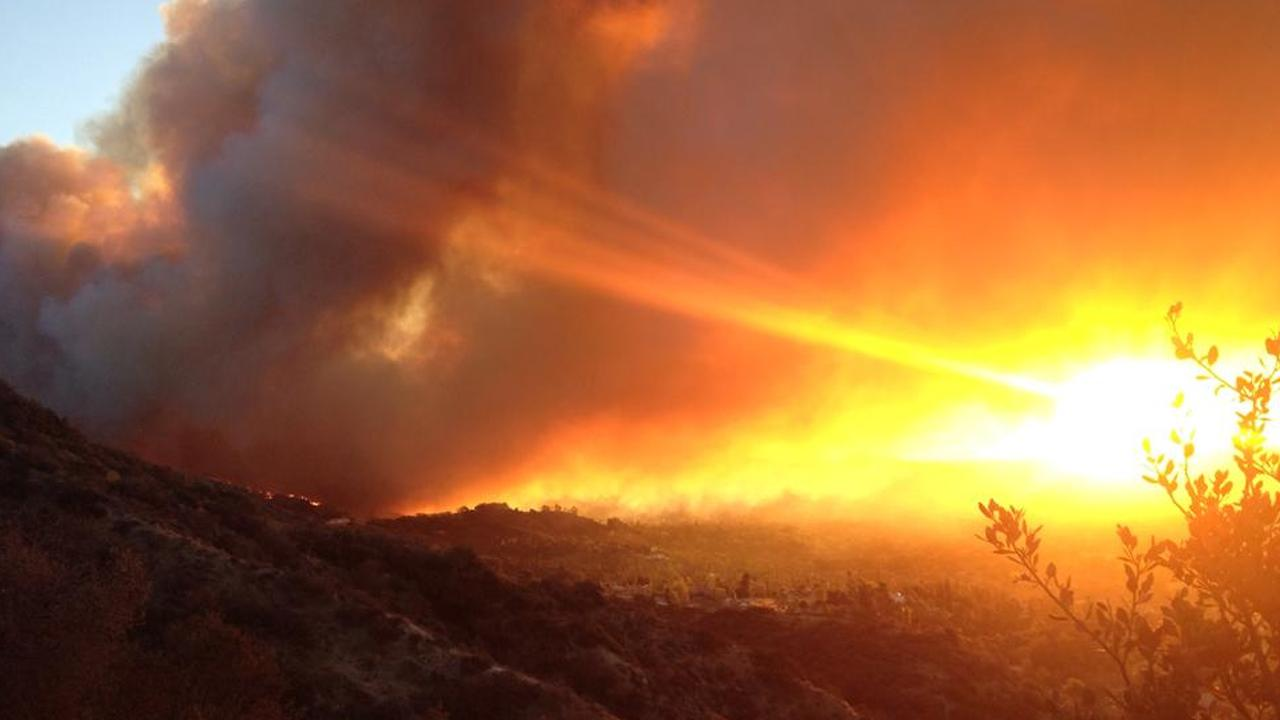 The brush fire burning above Glendora is seen from Garcia Trail in this photo taken by ABC7 viewer David Soracco.