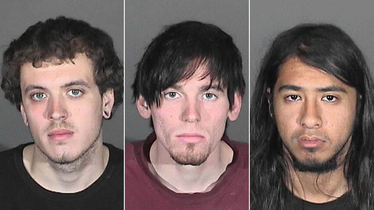From left: Clifford Eugene Henry, Jr., Jonathan Carl Jarrell and Steven Robert Aguirre are seen in mugshot photos released by police.