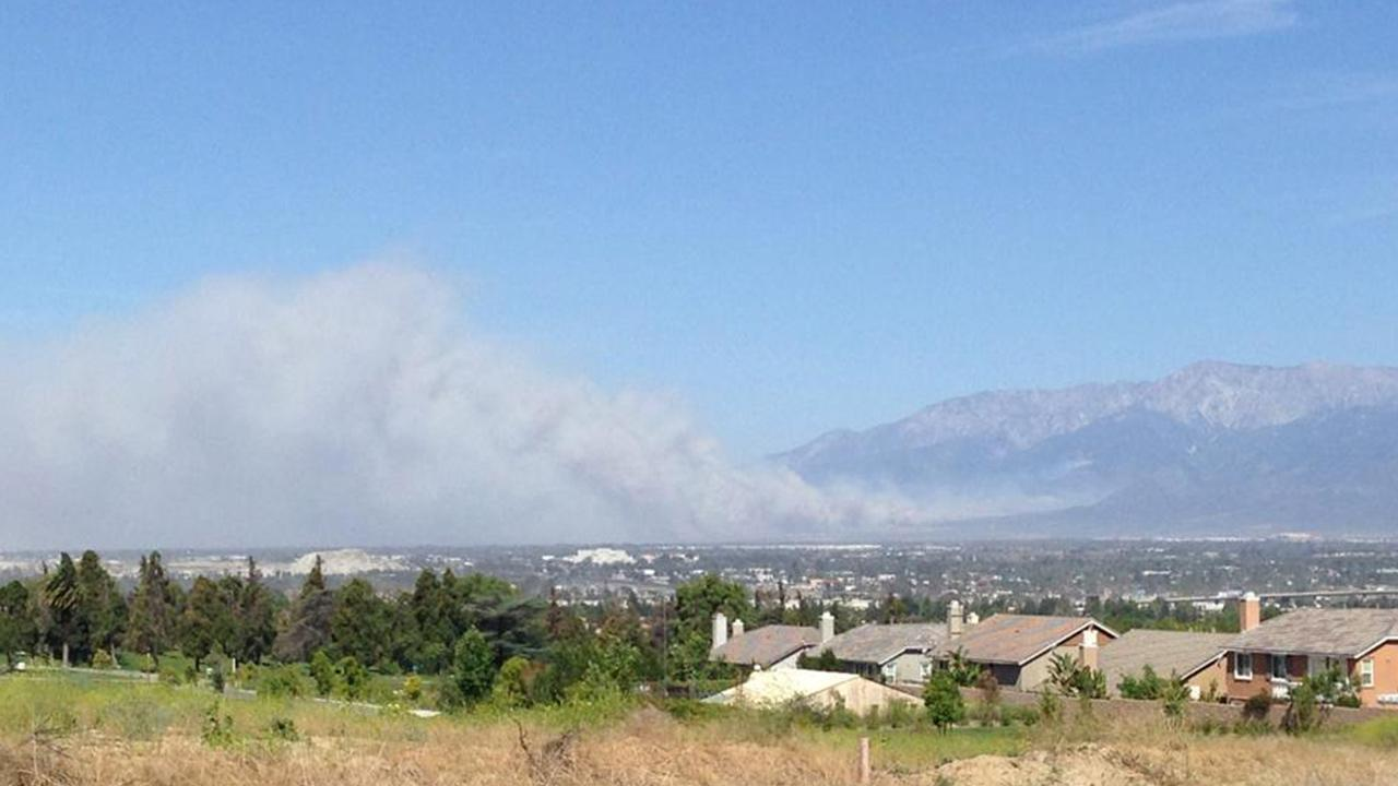 ABC7 viewer Jennifer Hall-Thormahlen sent in this photo of the brush fire near Rancho Cucamonga as seen from Loma Linda via Facebook on Wednesday, April 30, 2014.