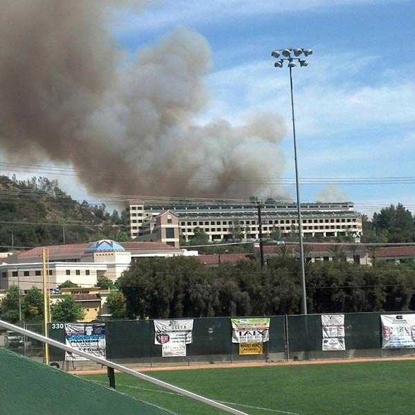 "<div class=""meta ""><span class=""caption-text "">ABC7 viewer Jolene Appleton took this picture of the Glendale brush fire behind Glendale City College on Friday, May 3, 2013. (ABC7 viewer Jolene Appleton)</span></div>"