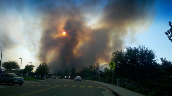 ABC7 viewer Casey Robertson Canez posted this photo of the Murrieta fire on the ABC7 Facebook wall on Sunday, Sept. 23, 2012.