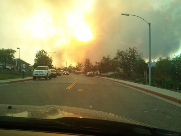 ABC7 viewer Bree Widmark posted this photo of the Murrieta fire on the ABC7 Facebook wall on Sunday, Sept. 23, 2012.