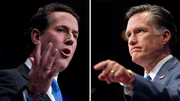 Rick Santorum and Mitt Romney in Dead Heat in California