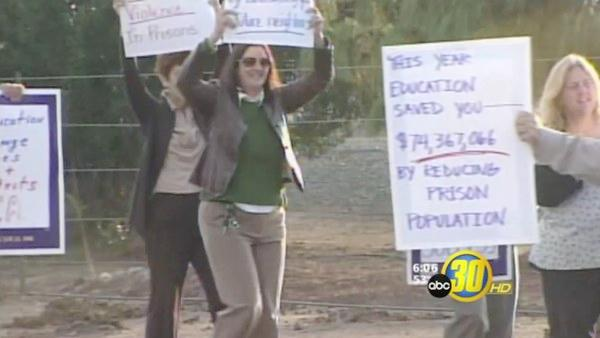 California Prison Teachers Protest Layoffs