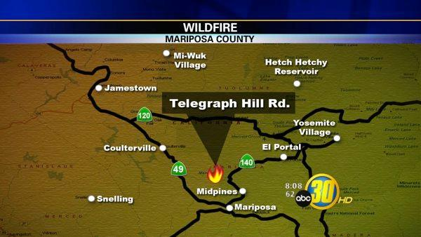 Mariposa County fire burns 70 acres