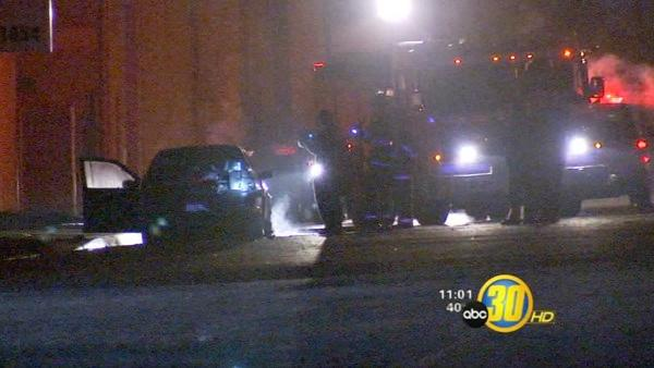 Body found inside burning car in Fresno