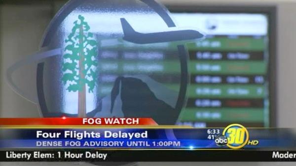 Fog delays flights and schools