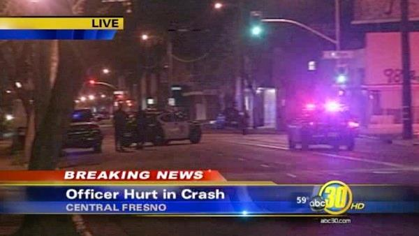 Officer hurt in Central Fresno crash