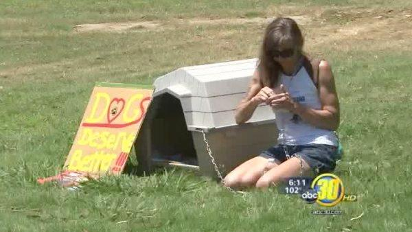 Woman protests animal cruelty in Fresno Co. park
