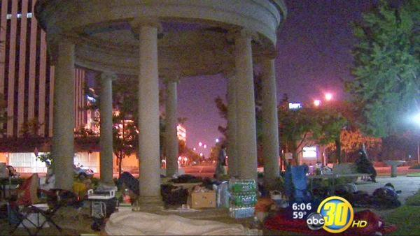Occupy Fresno spends third night in Downtown park