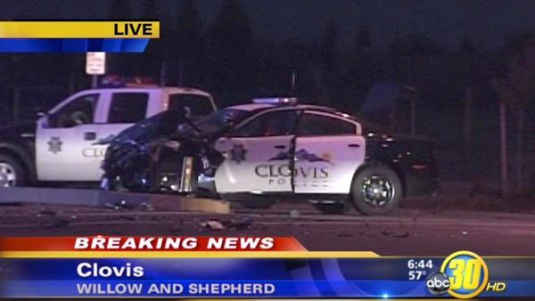 Pursuit in Clovis leads to police car crash