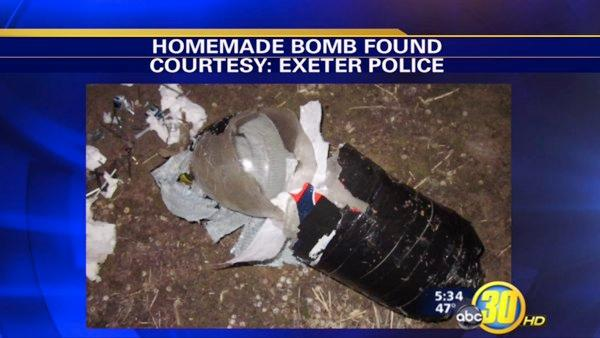 Exeter man finds homemade bomb in backyard