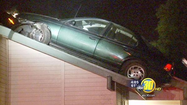 Man lands car on roof of Fresno Apartment