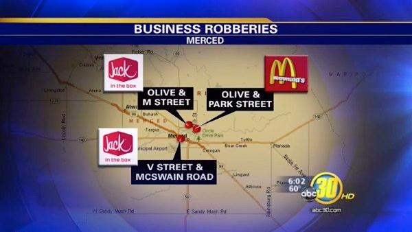 Robbers target fast food restaurants in Merced