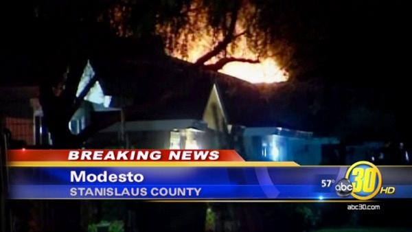 Modesto home went up in flames during standoff