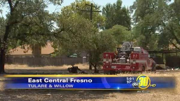 Small fire damages Fresno backyard